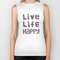 snorlax Biker Tanks featuring Live Life Happy Poster by koppen Code