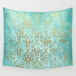 Mermaid Gold Aqua Seafoam Damask Wall Tapestry