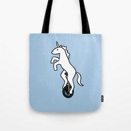 Unicorn on a Unicycle Tote Bag