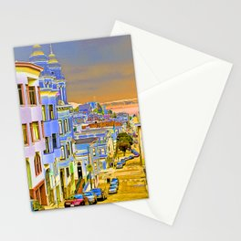 City By the Sea at Sunset Stationery Cards