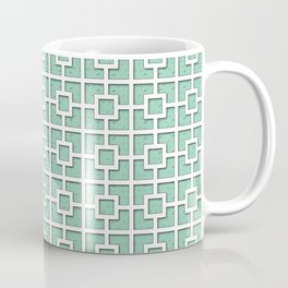 Marine Green Square Chain Patterned Design Coffee Mug