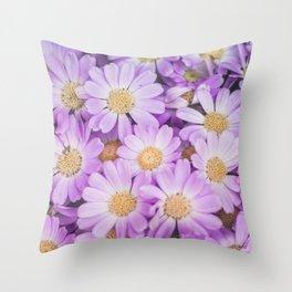 Purple daises Throw Pillow
