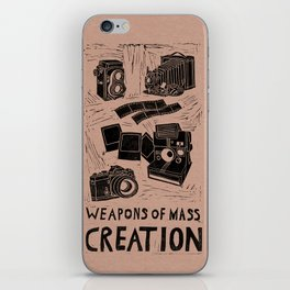 Weapons Of Mass Creation - Photography (blk on brown) iPhone Skin
