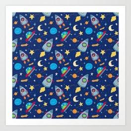 Fun Space Rockets and Aliens Art Print