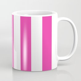 Strong boy pink - solid color - white vertical lines pattern Coffee Mug