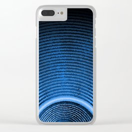 Blue music speaker and sound waves Clear iPhone Case