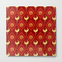 Gold Phoenix and lotus symbol pattern on red Metal Print