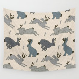 Jackalope Snow Parade Wall Tapestry