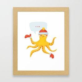 Grumpy Christmas Octopus Framed Art Print
