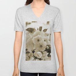 Cherry Blossoms Monochrome Unisex V-Neck