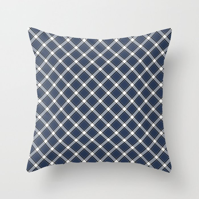 Navy Blue White And Black Diagonal Plaid Pattern Throw Pillow By