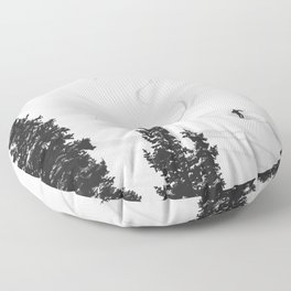 Backcountry Skier // Fresh Powder Snow Mountain Ski Landscape Black and White Photography Vibes Floor Pillow