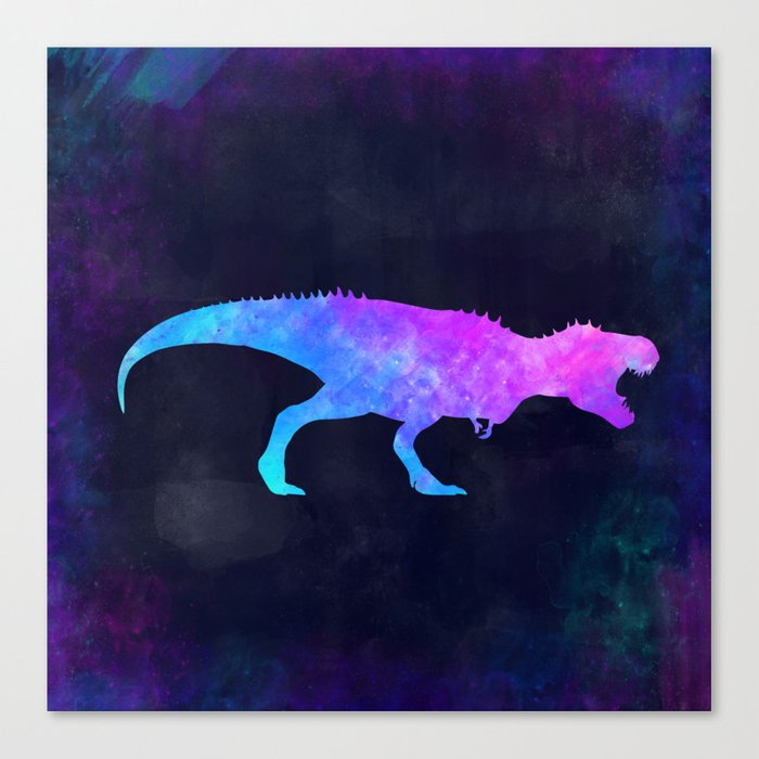 T Rex In Space Dinosaur Graphic Art Watercolor Canvas Painting Modern Minimal Cute Canvas Print By Misomiso Society6