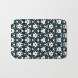 Geometrical Dark Blue delicate Flower design Bath Mat