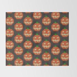 Knitted pumpkin pattern - dark Throw Blanket