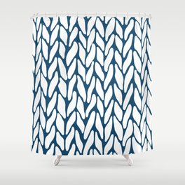 Hand Knitted Navy Shower Curtain