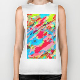 camouflage pattern painting abstract background in green blue pink red orange Biker Tank