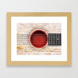 Old Vintage Acoustic Guitar with Japanese Flag Framed Art Print