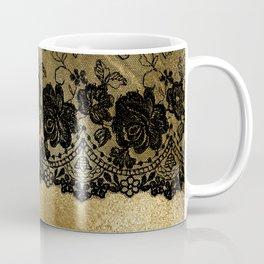 Black luxury lace on gold glitter effect metal- Elegant design Coffee Mug