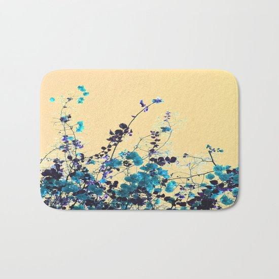 Vibrant Turquoise Blooms Bath Mat