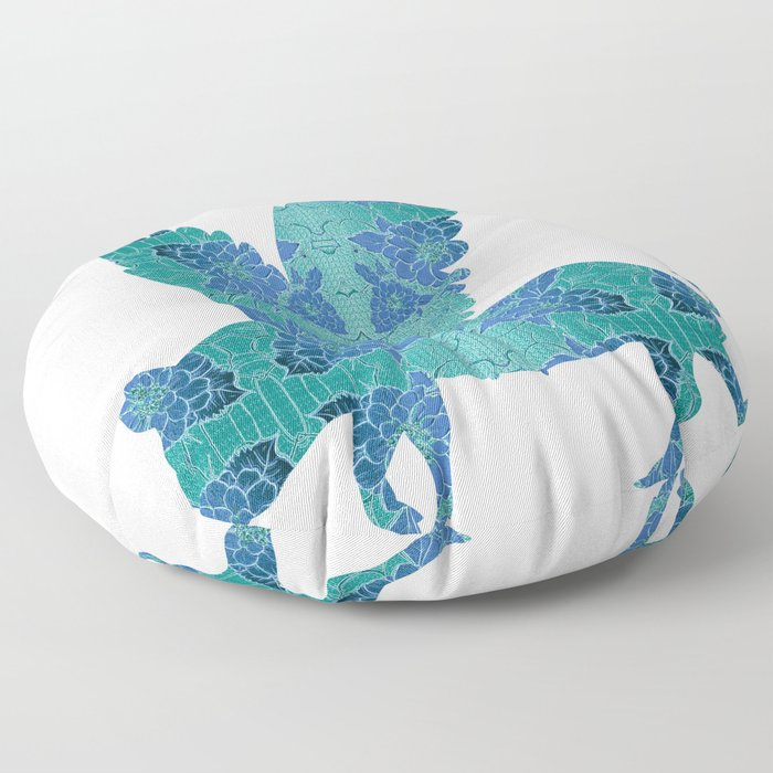 Vintage Blue Flying Pig Floor Pillow