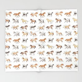 Horses - different colours and markings illustration Throw Blanket