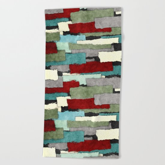 Colorful Patches Abstract Beach Towel