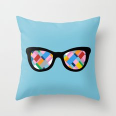Map 45 Glasses on Sky Blue Throw Pillow