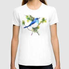 Mountain Bluebird, blue bird, art design blue green cottege T-shirt