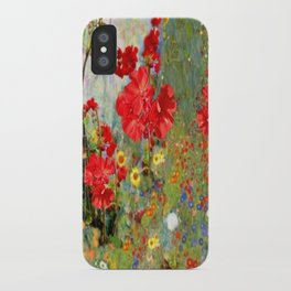 Red Geraniums in Spring Garden Landscape Painting iPhone Case