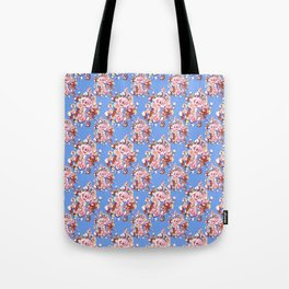 Blue Textile Tote Bag