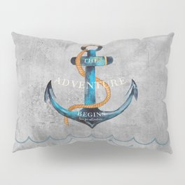 Maritime Design- Nautic Anchor Navy Marine Beach Pillow Sham