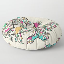 Colorful City Maps: Newcastle, Australia Floor Pillow