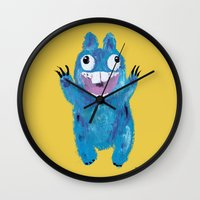 kevin russ Wall Clocks featuring Kevin by Kristina Joy Collins