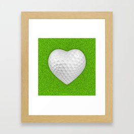 Golf ball heart / 3D render of heart shaped golf ball Framed Art Print