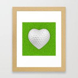 Golf ball heart / 3D render of heart shaped golf ball Framed Art Print