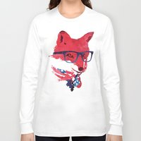 american Long Sleeve T-shirts featuring American Fox by Robert Farkas