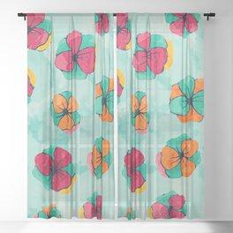 Watercolor flowers Sheer Curtain