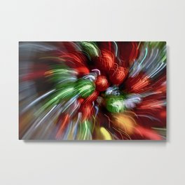 Abstract Red & Green Motion Blur Metal Print