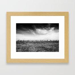 Fields of the Elysium Locomotive Street Photography BW Art Framed Art Print