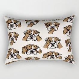 No Evil English Bulldog Rectangular Pillow