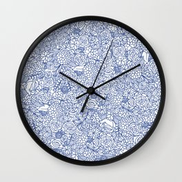 Floral Bunch in Blue Wall Clock