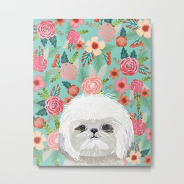 Shih Tsu floral dog portrait cute art gifts for dog breed lovers Metal Print