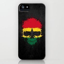Flag of Ghana on a Chaotic Splatter Skull iPhone Case