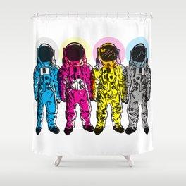 CMYK Spacemen Shower Curtain