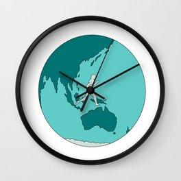 Marathon Runner Around World Drawing Wall Clock