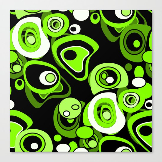 Abstract pattern black and green background . Canvas Print