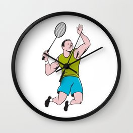 Badminton Player Racquet Striking Cartoon Wall Clock
