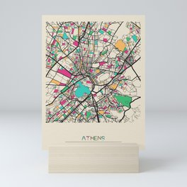 Colorful City Maps: Athens, Geece Mini Art Print