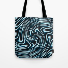 Blue and Black Licorice Ribbon Candy Fractal Tote Bag